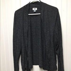 Black open front cardigan
